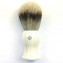 Custom Shaving Brush In Pink and White Striped Polyester
