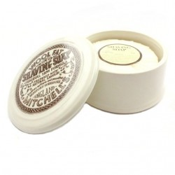 Mitchell's Wool Fat Shaving Soap in a Ceramic Dish