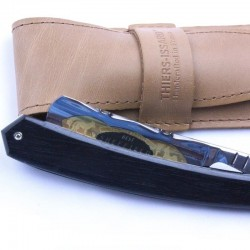 TI-5/8 straight razor with ebony scales and a flower design spine with fox& rooster gold wash marking