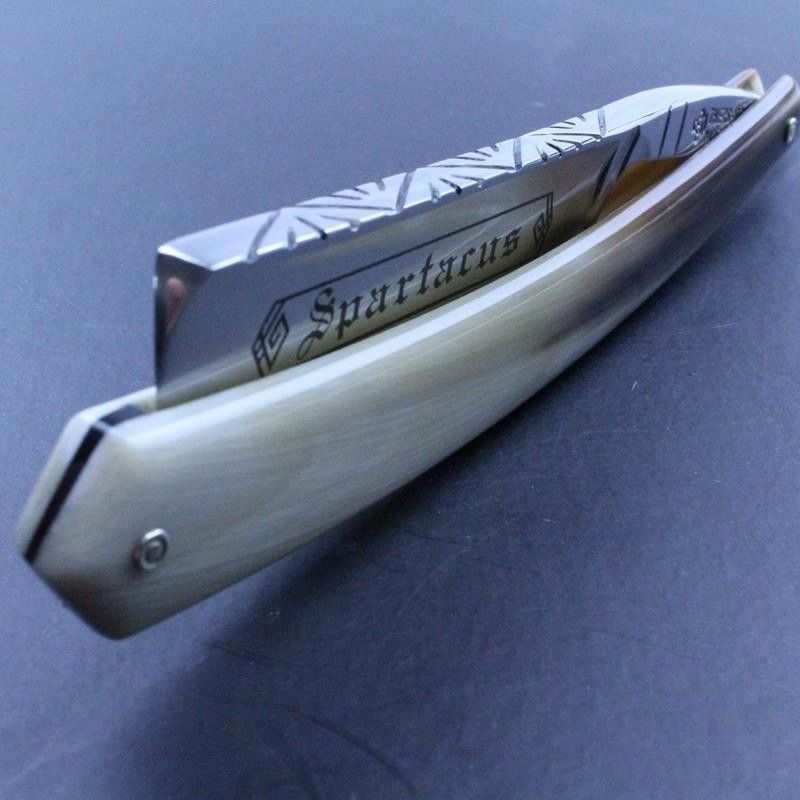 TI 5/8 straight razor with diamond spine blond horn scales and Spartacus marking