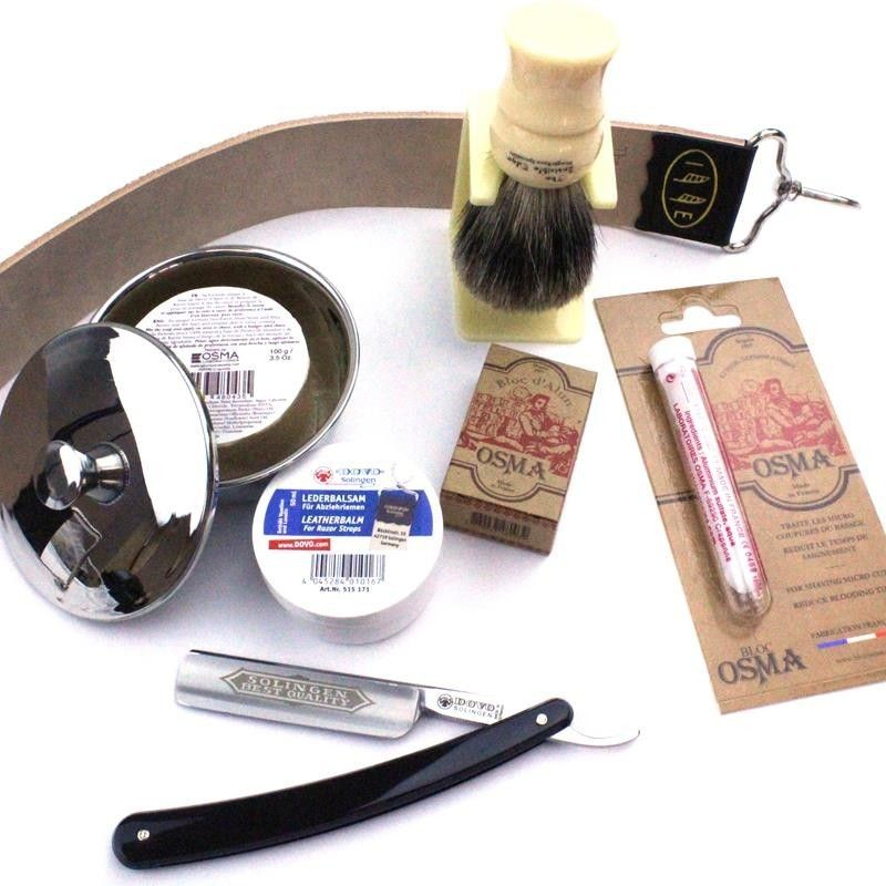 Invisible Edge Starter Kit Traditional Osma Version with Dovo Straight Razor