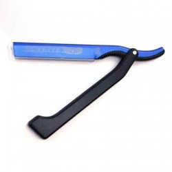 Dovo Shavette in Blue aluminium with black plastic handle