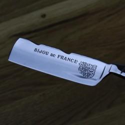 Thiers Issard 5/8 Black Horn Bijou de France Razor with Wheatfield Spine Design