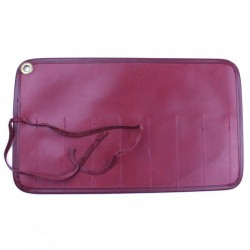 Invisible Edge Burgundy Leather 7 Razor Roll