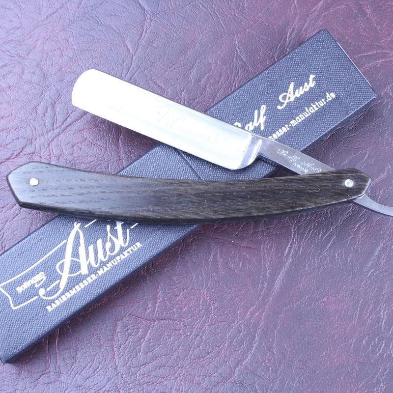 Ralf Aust 5/8 Stainless Steel Razor with Smoked Oak Scales