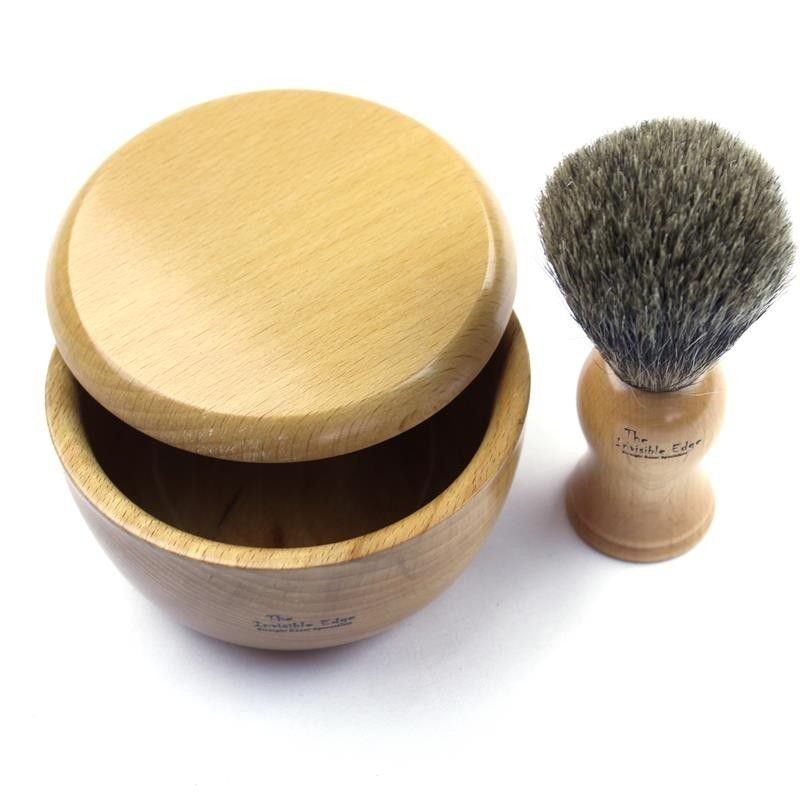 Invisible Edge Beechwood Bowl and Pure Badger Brush