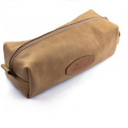 Invisible Edge Tan Calf Leather Wash Bag