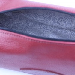 Invisible Edge Red Calf Leather Wash Bag