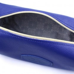 Invisible Edge Blue Calf Leather Wash Bag