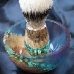Burl Wood Aquamarine Blue Shave Bowl and Silvertip Badger Brush