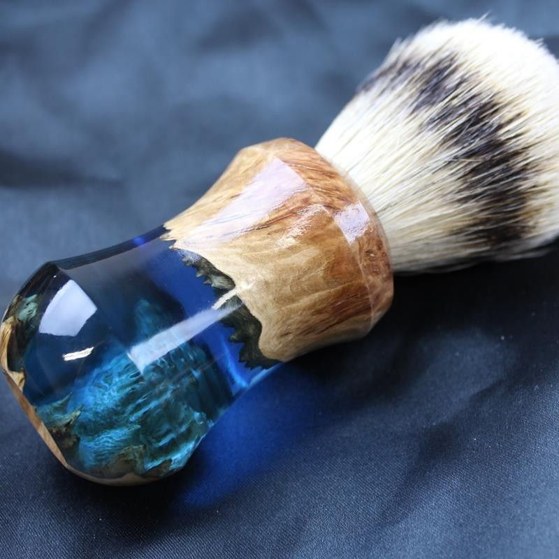 Burl Wood Indigo Blue Silvertip Badger Shave Brush