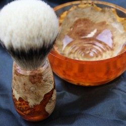Burl Wood Orange Shave Bowl and Silvertip Badger Brush