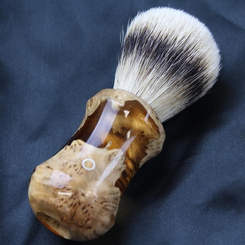 Burl Wood Orange Silvertip Shave Brush