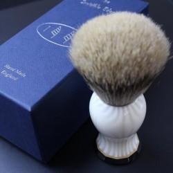 Invisible Edge Custom Shaving Brush Ivory and White Stripe